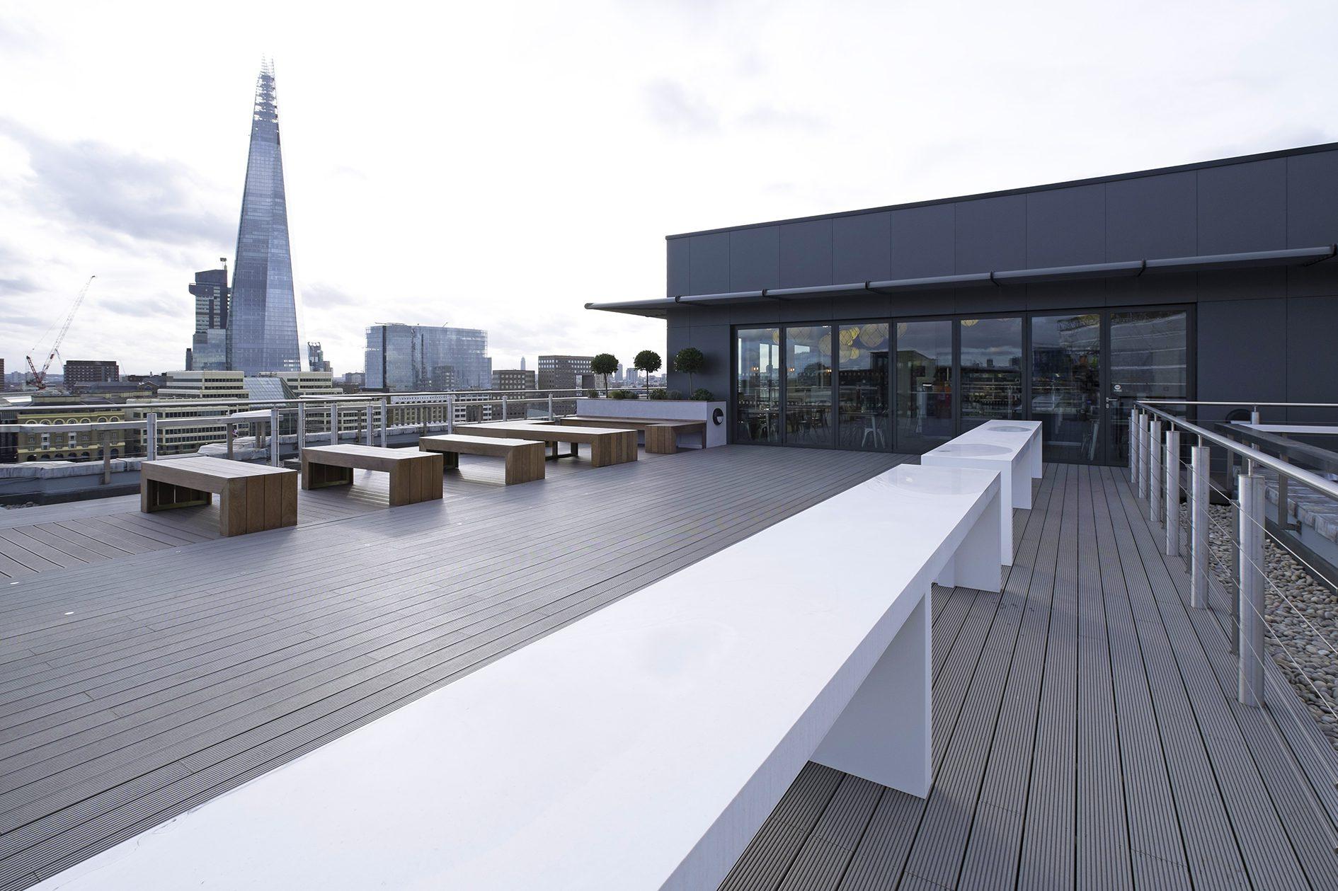 Grey decking on a balcony