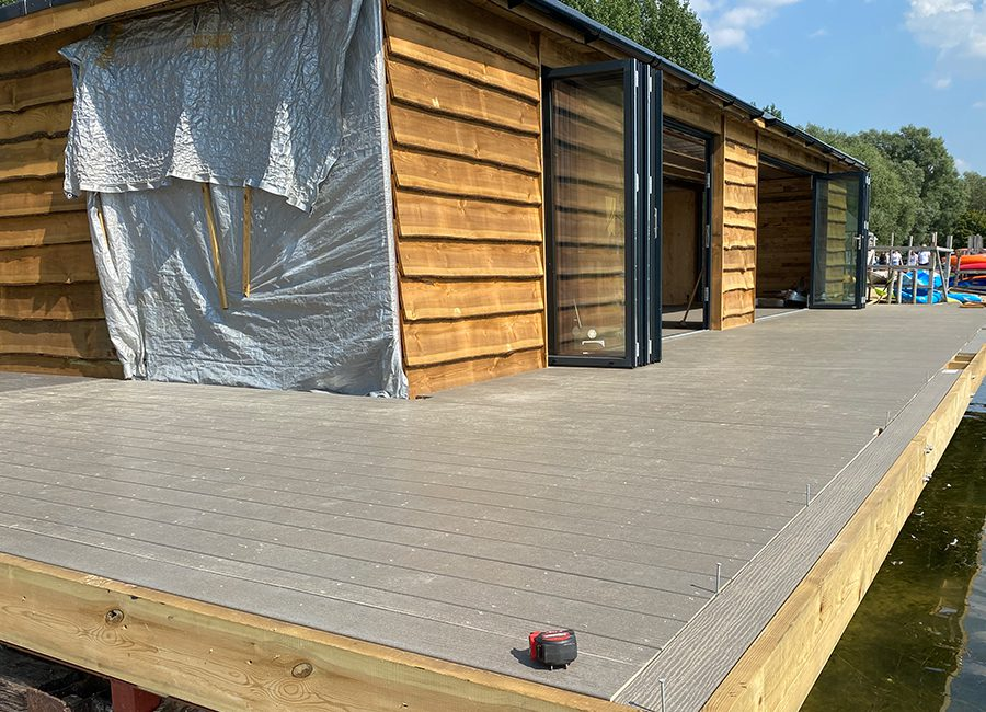 Light grey composite decking installation