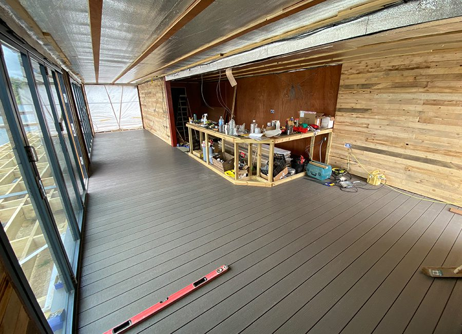 Indoor grey decking installation