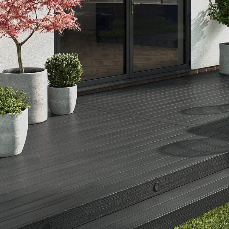 Dark grey composite decking landscape