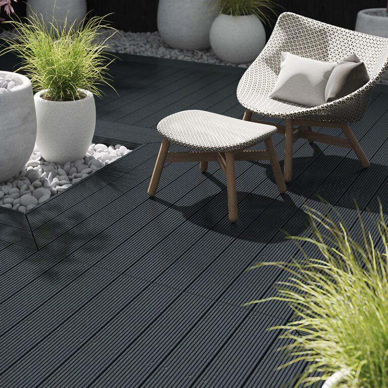 Black composite decking landscape