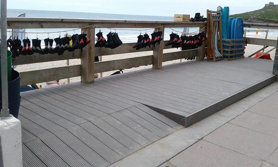 Light grey composite decking boards