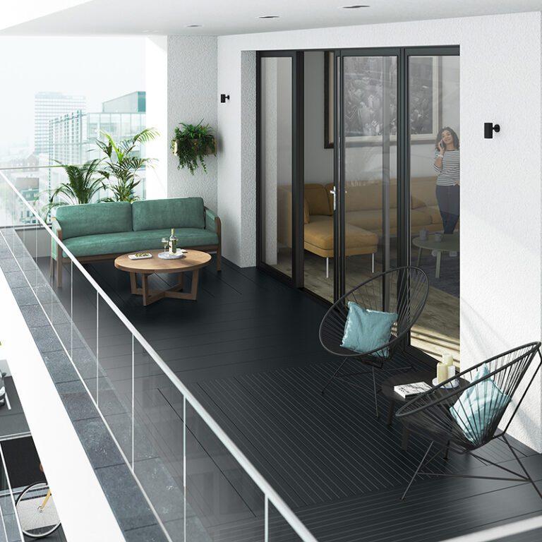 Black aluminium decking on a balcony