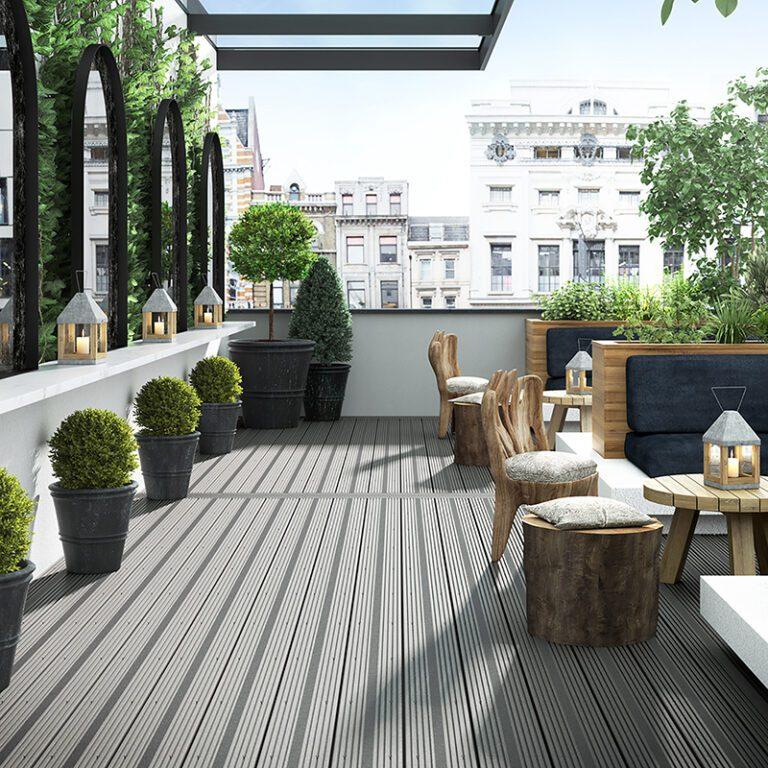 Wood effect aluminium decking on a balcony