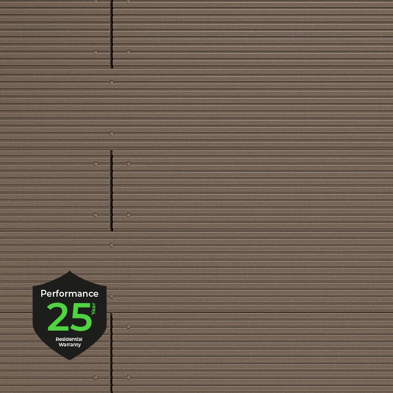 Light brown decking boards with 25 year warranty