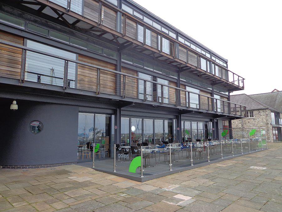 Grey decking landscape for business