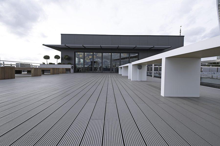 Grey decking balcony