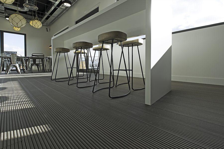 Solid grey indoor decking