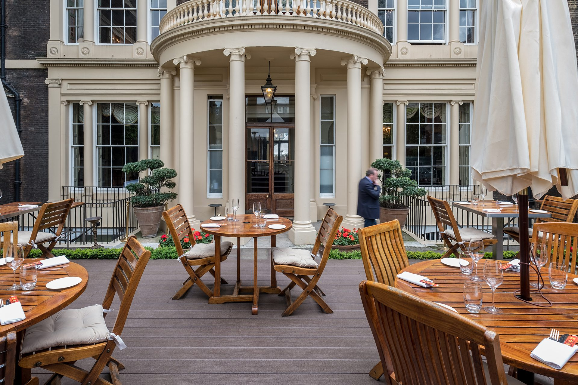 Outdoor composite decking for a business