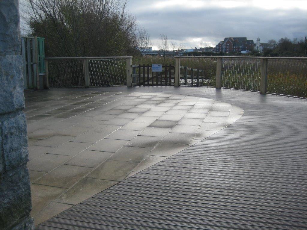 Grey composite decking balcony