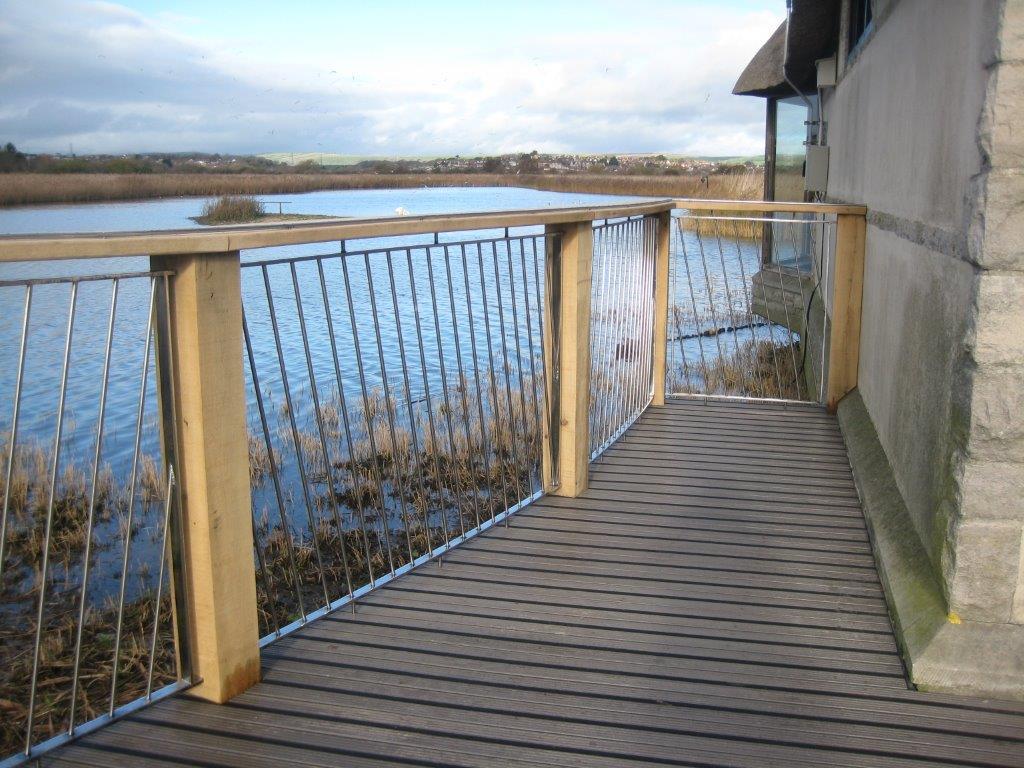 Slip resistant grey composite decking balcony
