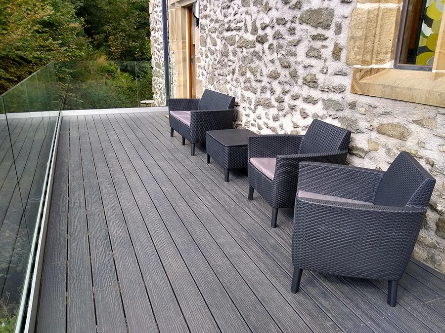 Grey decking boards