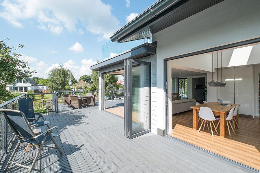 Light grey composite decking balcony
