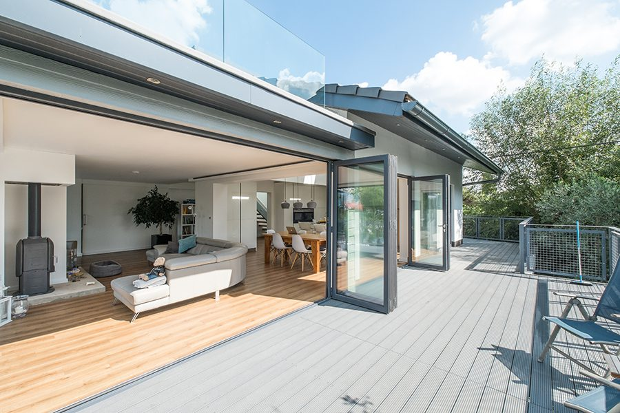 Light grey decking balcony