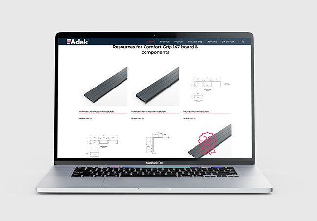 Adek website on a MacBook Pro