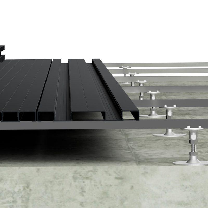 Black aluminium decking installation