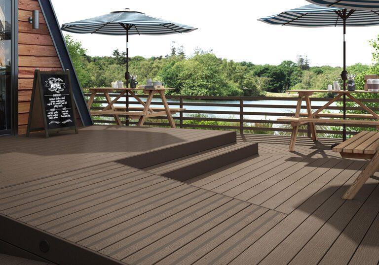 Brown composite decking landscape