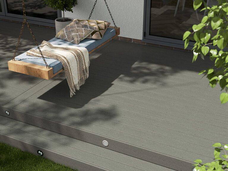 Light grey composite decking landscape