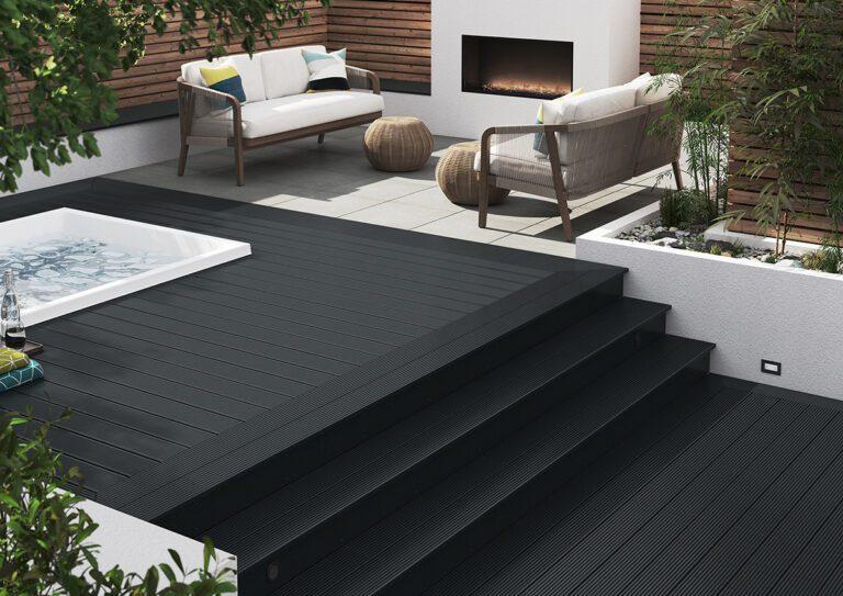 Black composite decking steps