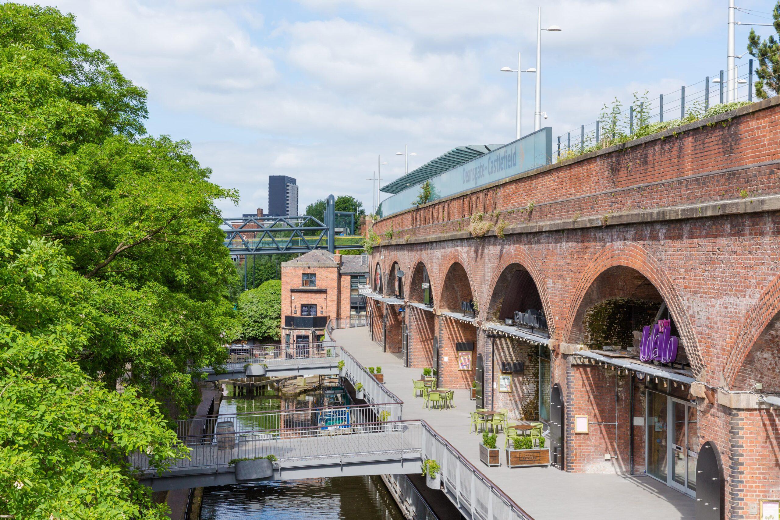 Grey decking Deansgate Locks Manchester