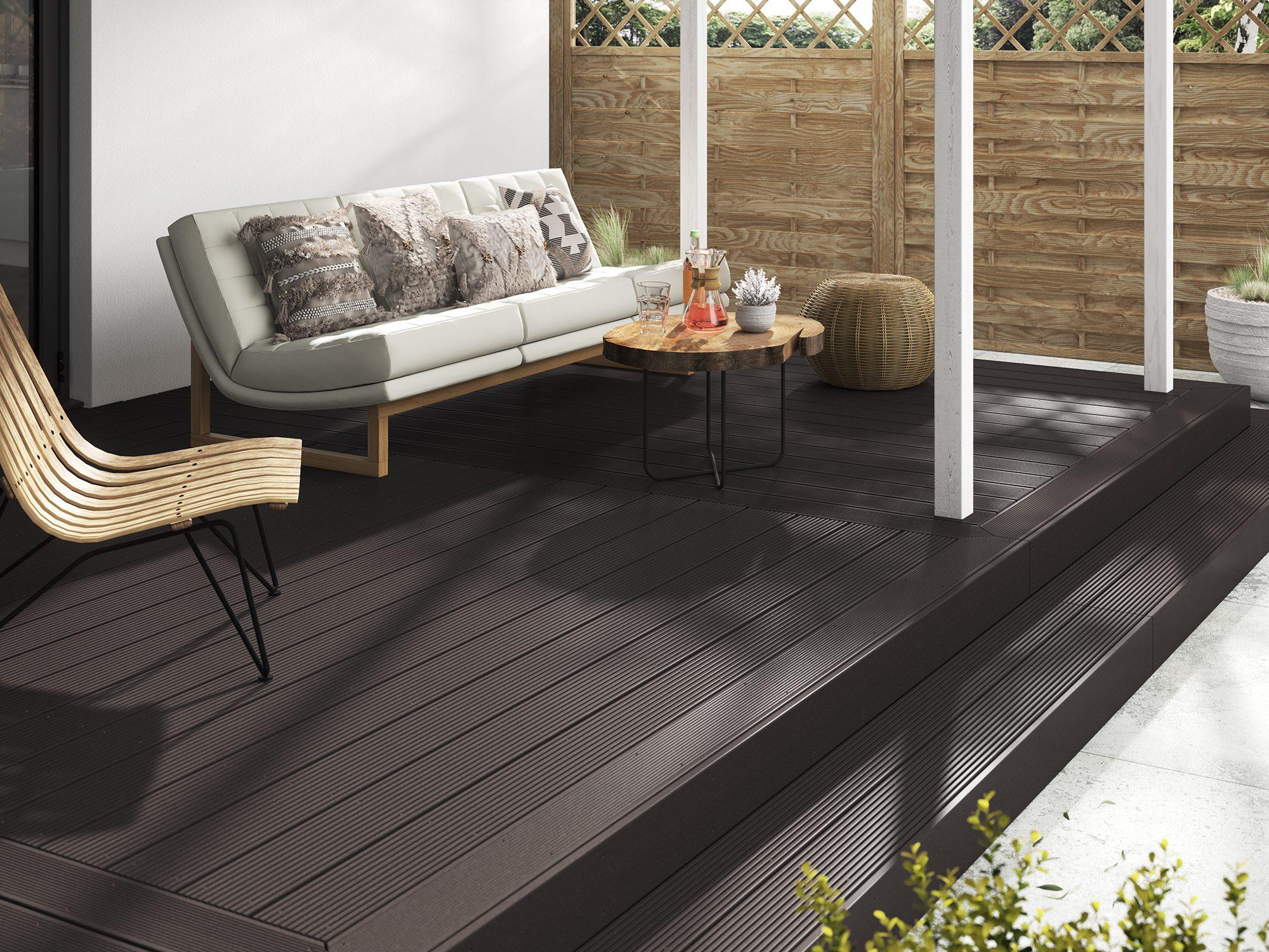 Dark brown solid composite decking