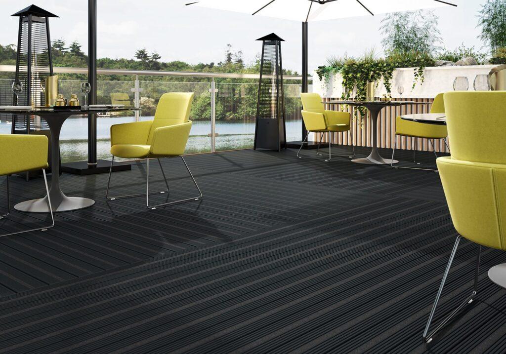 Restaurant with black composite decking
