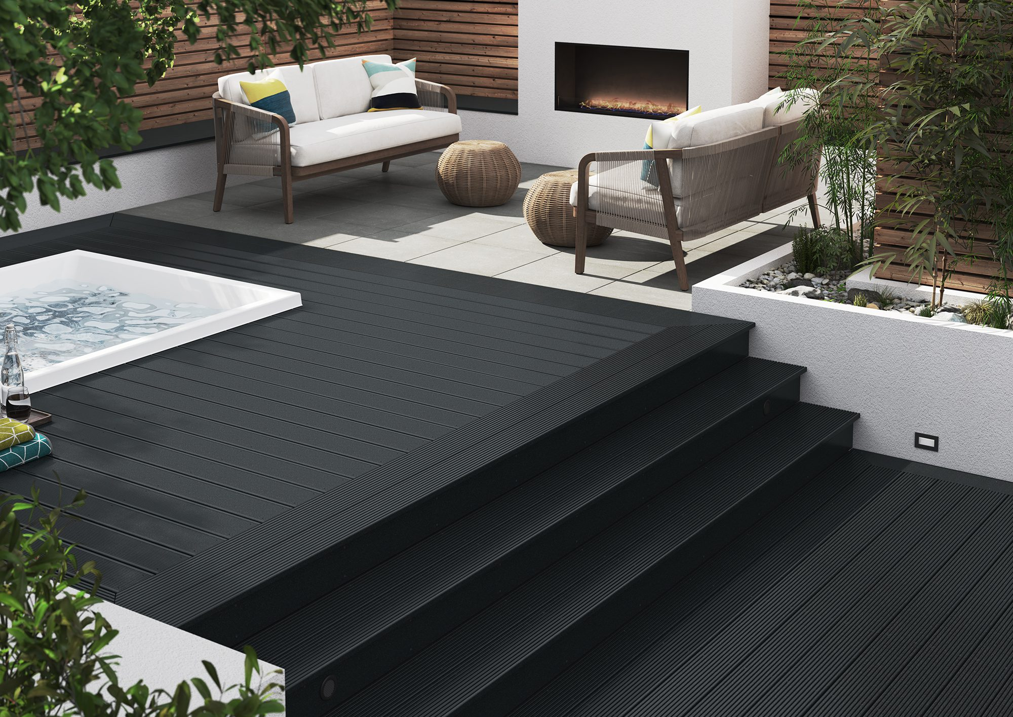 Black Composite Decking with hot tub