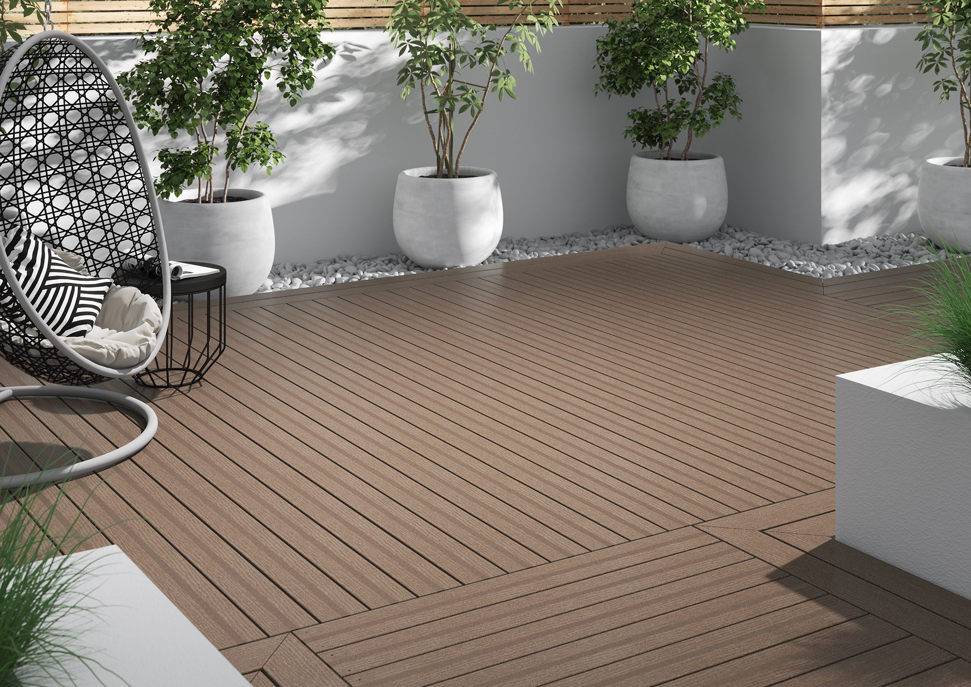 Light brown composite decking