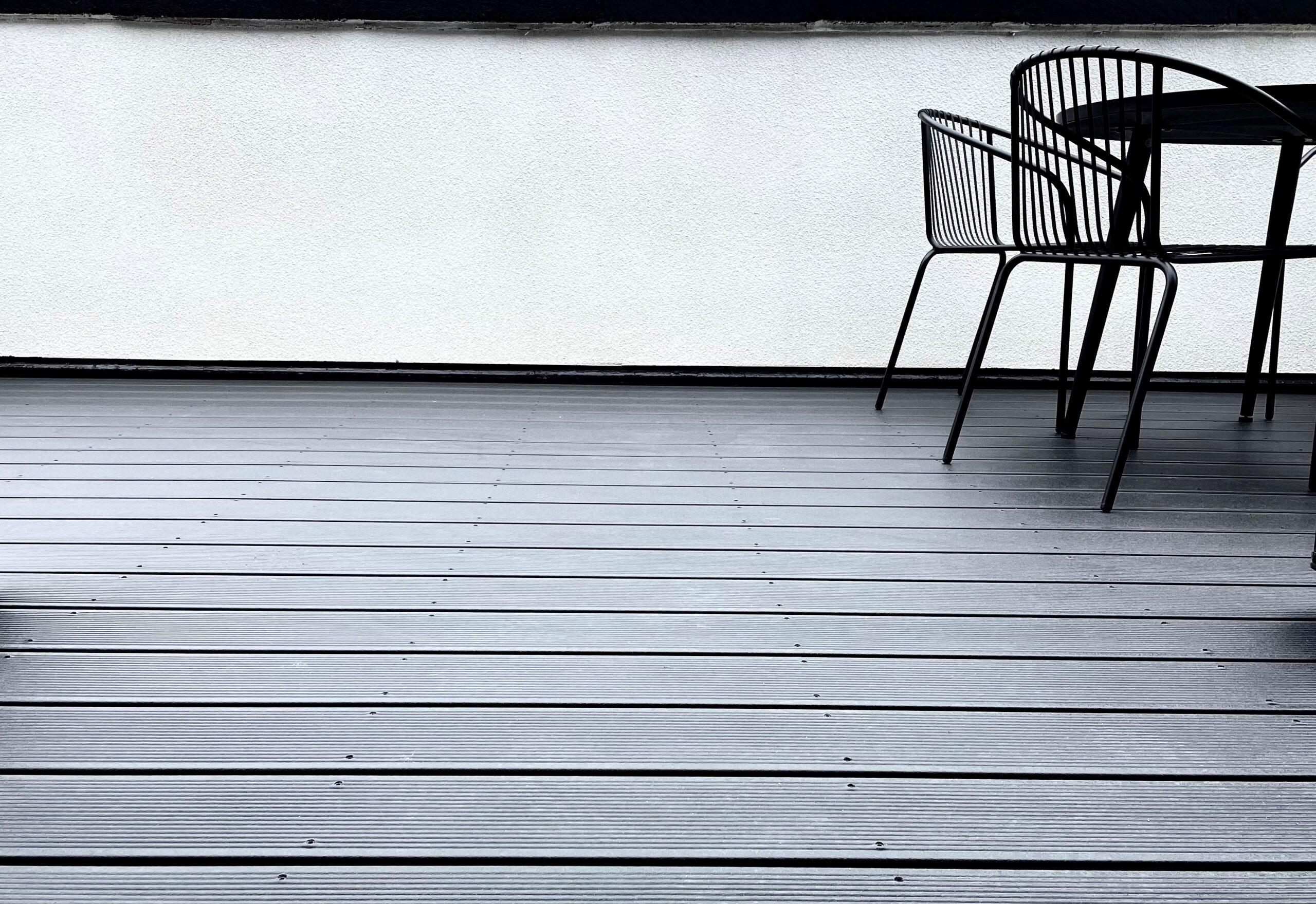 black solid composite decking